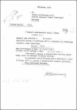 Ptasie Mleczko - dokumenty archiwalne zUrzędu Patentowego RP