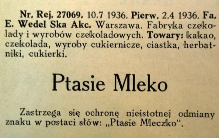 """Wiadomości Urzędu Patentowego - informacja oznaku towarowym """"Ptasie Mleczko"""""""