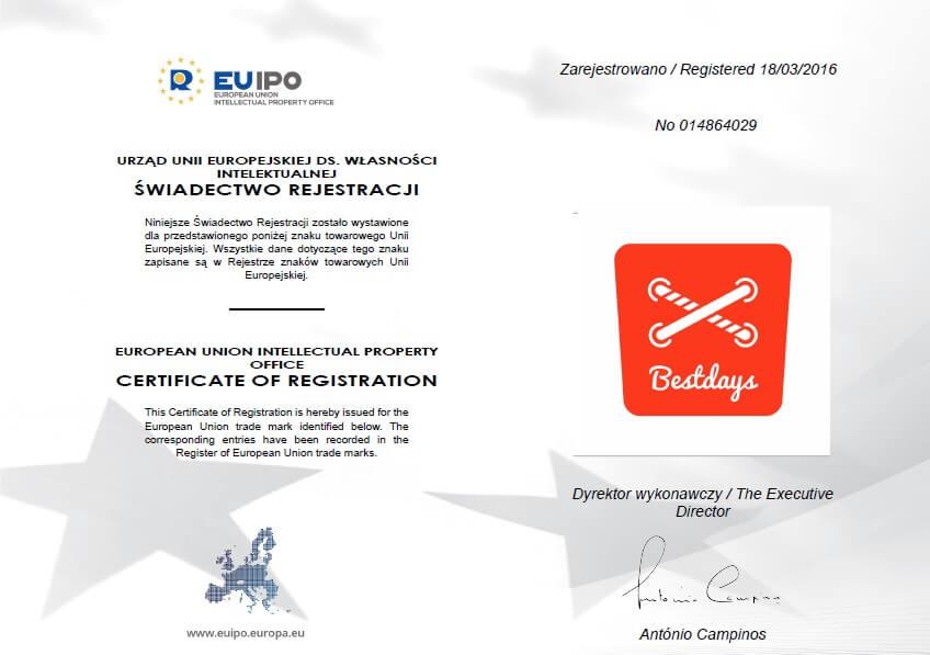 EUIPO - świadectwo rejestracji unijnego znaku towarowego
