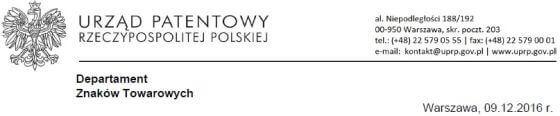 Oficjalny nagłówek pisma zUrzędu Patentowego Rzeczypospolitej Polskiej.